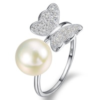 BELLA Fashion Real Pure 925 Sterling Silver Butterfly Ring Cubic Zircon 9MM Ivory 100 Natural Pearl
