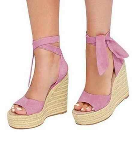 Venta caliente Rosa negro de gamuza corbata-Cuña sandalias de corte-Peep Toe tejido trenza de plataforma alta damas sandalias personalizado de la nave de la gota