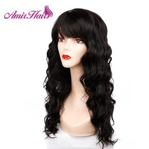 Image 2 - Długie naturalne fale peruki dla kobiet czarny brązowy Ombre blond peruka z grzywką Bob syntetyczne peruki do włosów Peruca Cosplay i imprezowa peruka