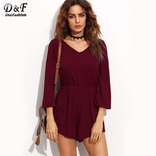 Dotfashion Women Low V Back Self Tie Playsuits 2017 Woman V neck 3/4 Sleeve Romper Pure Burgundy Playsuits