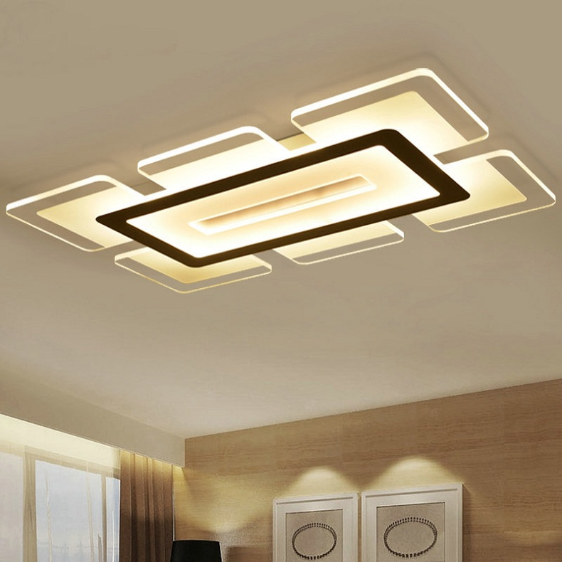 Modern Led Ceiling Light Rectangular And Square Living Room Acrylic Creative Bedroom Lamp Ac85 265v