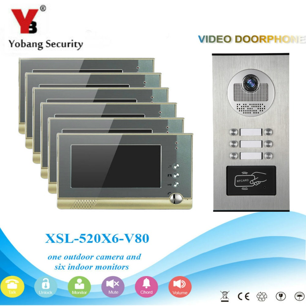 YobangSecurity Video Door Intercom 7Inch Video Door Phone Doorbell Intercom System RFID Access Door Camera For 6 Unit Apartment apartment intercom system 7 inch mointor 4 unit apartment video door phone intercom system video intercom doorbell doorphone kit