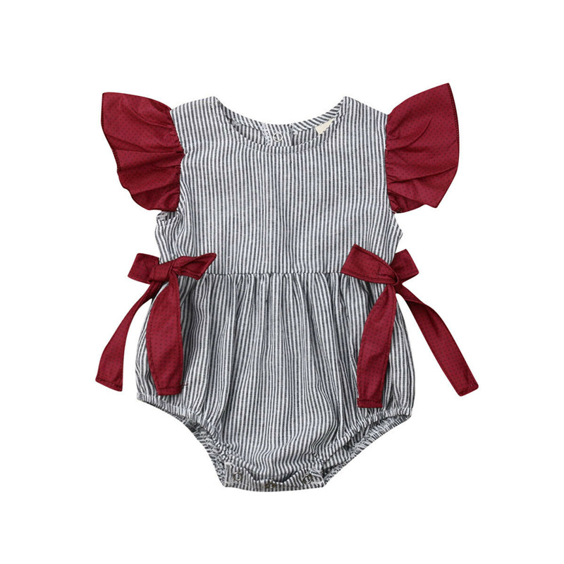 0-12M Casual Infant Baby Girl Summer Striped Bodysuits Striped Ruffle Short Sleeve O-Neck Sunsuit Baby Girl Cotton Bow Bodysuit0-12M Casual Infant Baby Girl Summer Striped Bodysuits Striped Ruffle Short Sleeve O-Neck Sunsuit Baby Girl Cotton Bow Bodysuit
