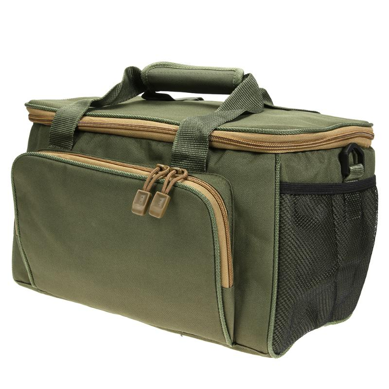 цена на Army Green Fishing Bag Canvas Multifunctional Outdoor Waist Shoulder Bags Fishing Reel Lure Storage Bag Fishing Tackle Pesca New