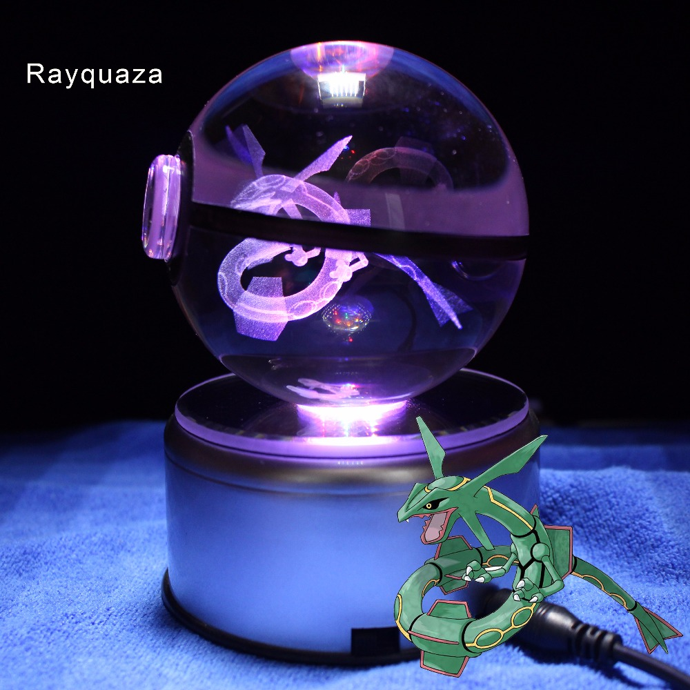 Best Childer Home Decoration Pokemon Go Game Rayquaza Crystal Ball Night Stand