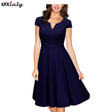 Oxiuly Vintage Womens Dress Audrey Hepburn Colored Stripe Print V Neck Office Wear Casual Working A-line Dresses Vestidos
