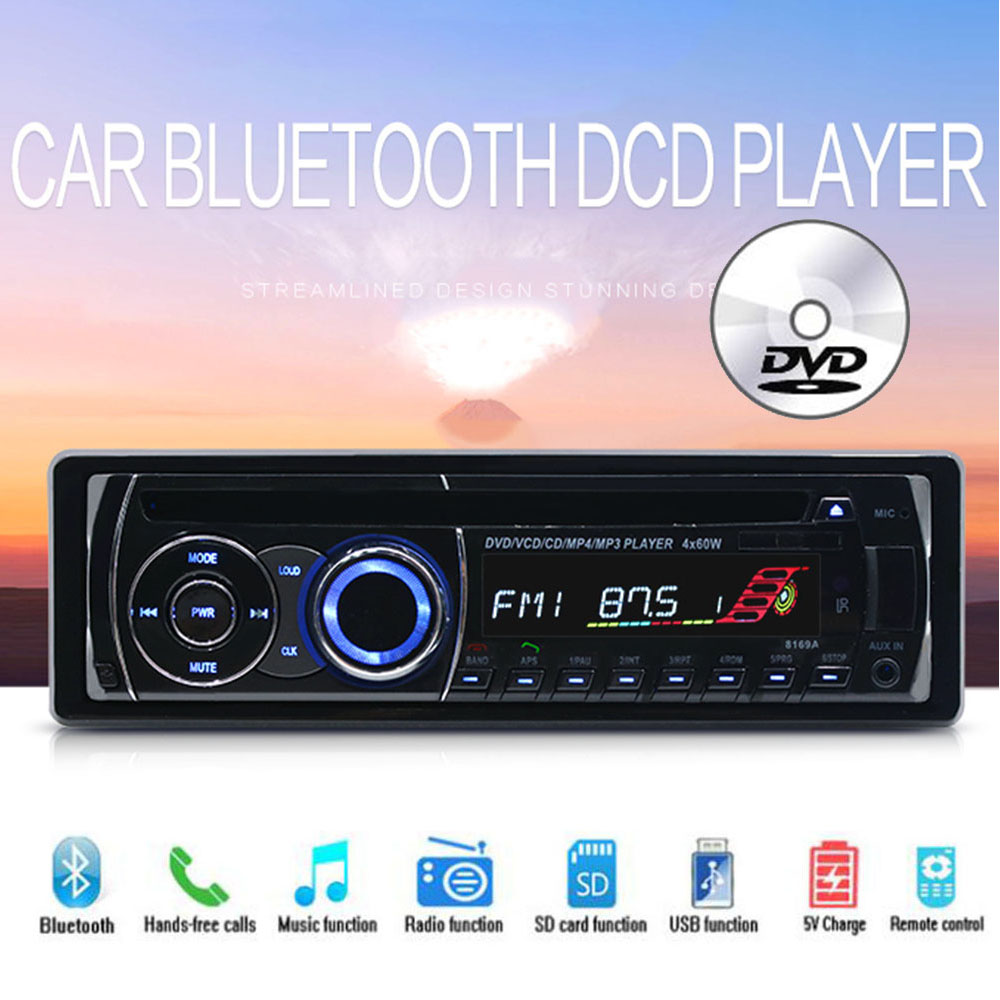 Audio Music FM AUX IN USB SD card BT Bluetooth 1 DIN CD DVD MP3 player With Remote Control Removable panel Car Radio Stereo 1 din car stereo radio audio player receiver fm aux cd dvd wma mp3 player usb sd slot detachable panel for sedan suv truck etc
