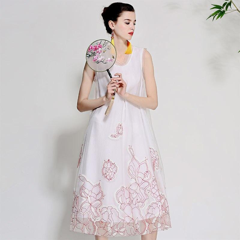 Для женщин Красивые платья летние винтажные королевская вышивка цветочные элегантный Леди Свободные рукавов шелковой органзы праздничное