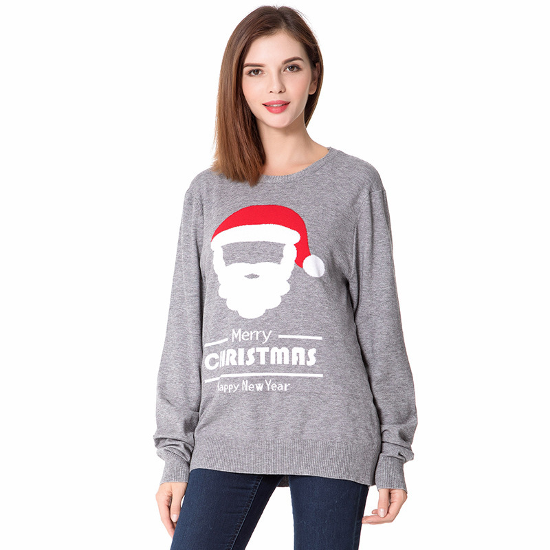 2017 Long Christmas Day Woman Sweater Round Neck New Year Knitting Unlined Upper Garment Long Sleeve Cartoon Sweater