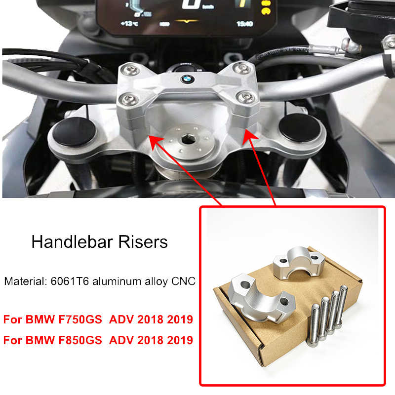 F750GS F850GS ADV CNC 22mm 28mm Handlebar Risers Clamp ความสูงอะแดปเตอร์สำหรับ BMW F750 GS F 850 GS F750GS F850GS ผจญภัย 2018