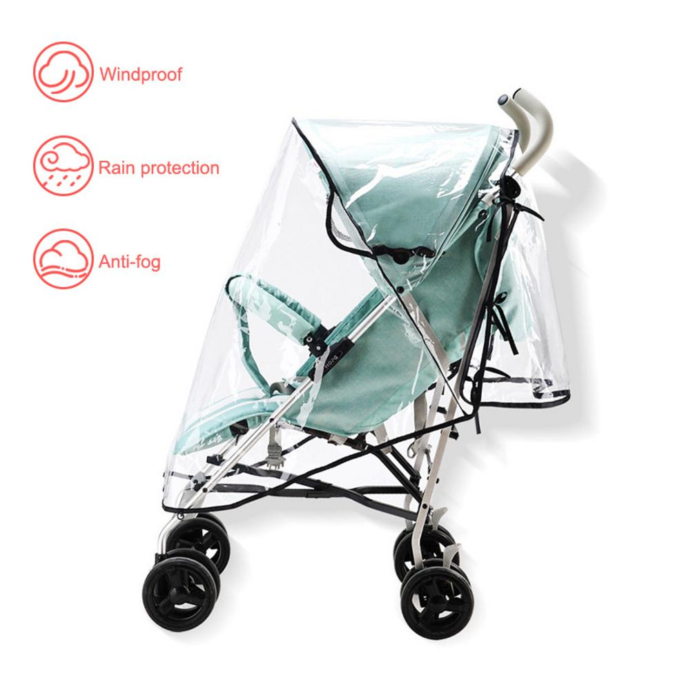 Stroller Rain Cover Universal Baby Travel Stroller Cover Waterproof Windproof Protection Outdoor Use With Air Holes-Transparent