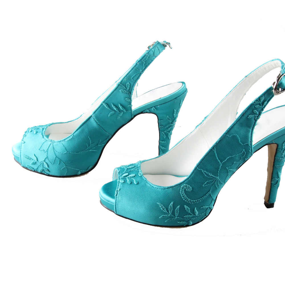 6b78ae553f Creativesugar Handmade turquoise slingback high heels lace open peep toe  ladies wedding evening party prom shoes pumps big size