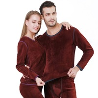 Thermal underwear men Long Johns sets fleece thick solid winter inner wear undershirt and underpants size L to XXXL