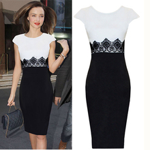 Nice Fashion Lace Stitching Black White Color Short Sleeve Pencil Sweet Elegant Intimate Dresses woMen Clothing