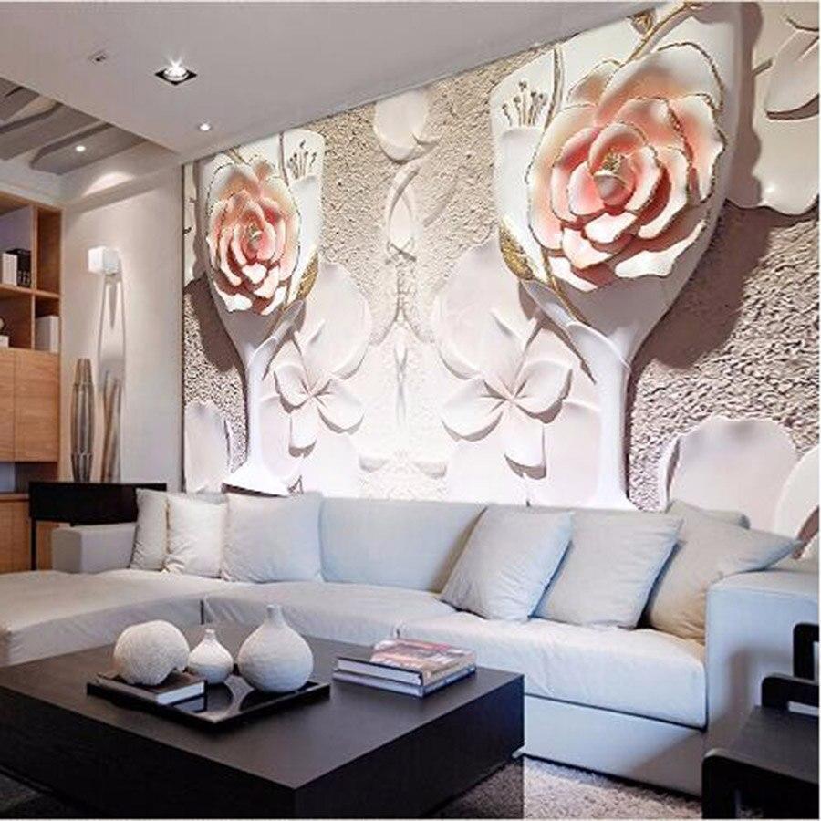Large Embossed Rose Room Wallpaper 3d for Livingroom Wall 3 d ...