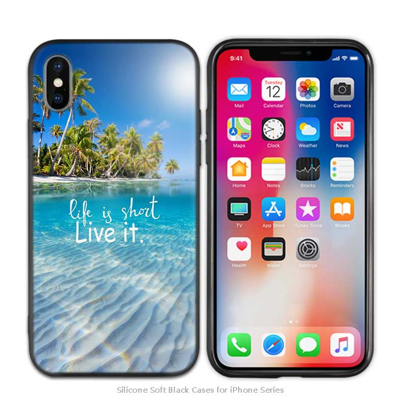 Beautiful sunset palm trees aloha Hawaii Black Scrub Silicone Soft Case  Cover Shell for iPhone XS Max X XR 6 6s 7 8 Plus 5 SE 5S
