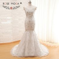 Luxury Sheer Bateau Neck Crystal Beaded Embroidery Mermaid Wedding Dress Illusion Buttons Back Real Photos