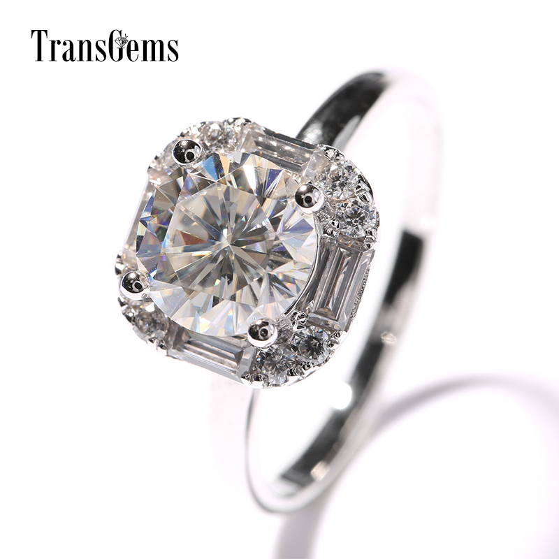 TransGems Center 1ct Moissanite Halo Engagement Ring 14K 585 White Gold 1 Carat 6.5MM Moissanite Fine Jewelry for Women Wedding transgems 18k white gold 0 5 carat 5mm lab grown moissanite diamond solitaire pendant necklace for women jewelry wedding