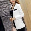 Ladies Blazers 2017 New Fashion Single Button Blazer Women Suit Jacket white/Black Blaser Female Plus Size Blazer Femme