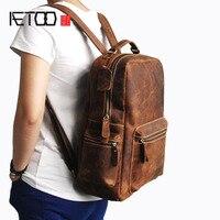 AETOO мужской первый лошадь mad корова кожаный рюкзак для путешествий большой рюкзак кожаный Ретро стиль мужская сумка