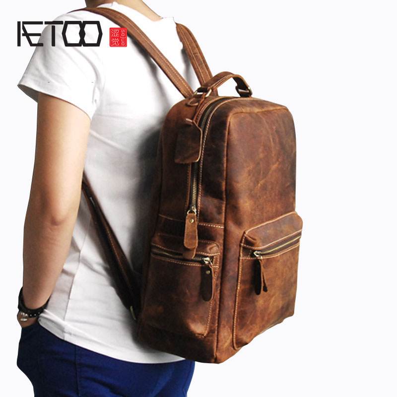 AETOO Men's first horse mad cow leather backpack travel big backpack leather retro style men's bag