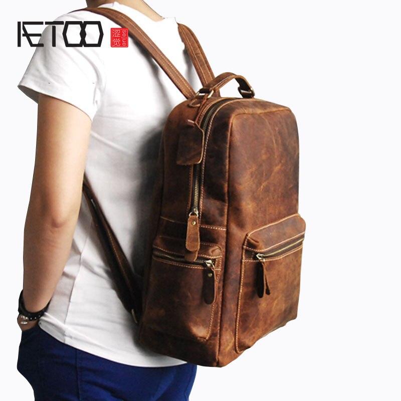 AETOO para hombre, mochila de cuero de vaca loca, mochila grande de viaje, bolso de cuero de estilo retro para hombre-in Mochilas from Maletas y bolsas    1