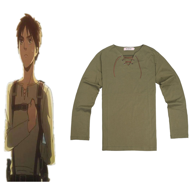 Hot Attack On Titan Cosplay Costume Eren Jager Cosplay  T-Shirt Uniform Outfit Anime Cosplay Costume Halloween Carnival Party