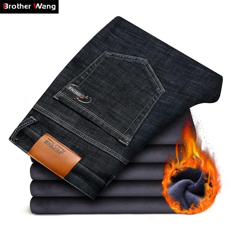 2019 Winter New Men's Warm Black Jeans Elasticity Slim Fit Thicken Denim Pants Brand Trousers Male Bule Big Size 38 40 42 44 46