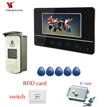 Yobang Security FREE SHIPPING 7″ Monitor Video Home Door Bell Intercom Security Camera door bell phone 5pcs RIFD cads
