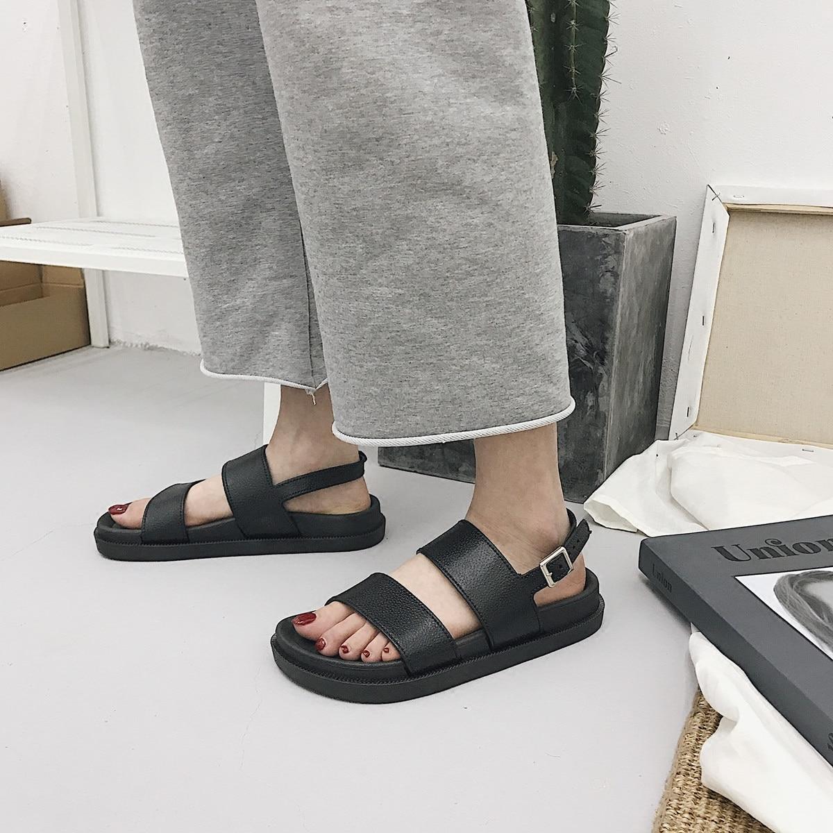 Mazefeng 2018 New Fshion Summer Women Shoes Rome Style Women Casual Sandals Solid Black Buckle Ladies Innrech Market.com