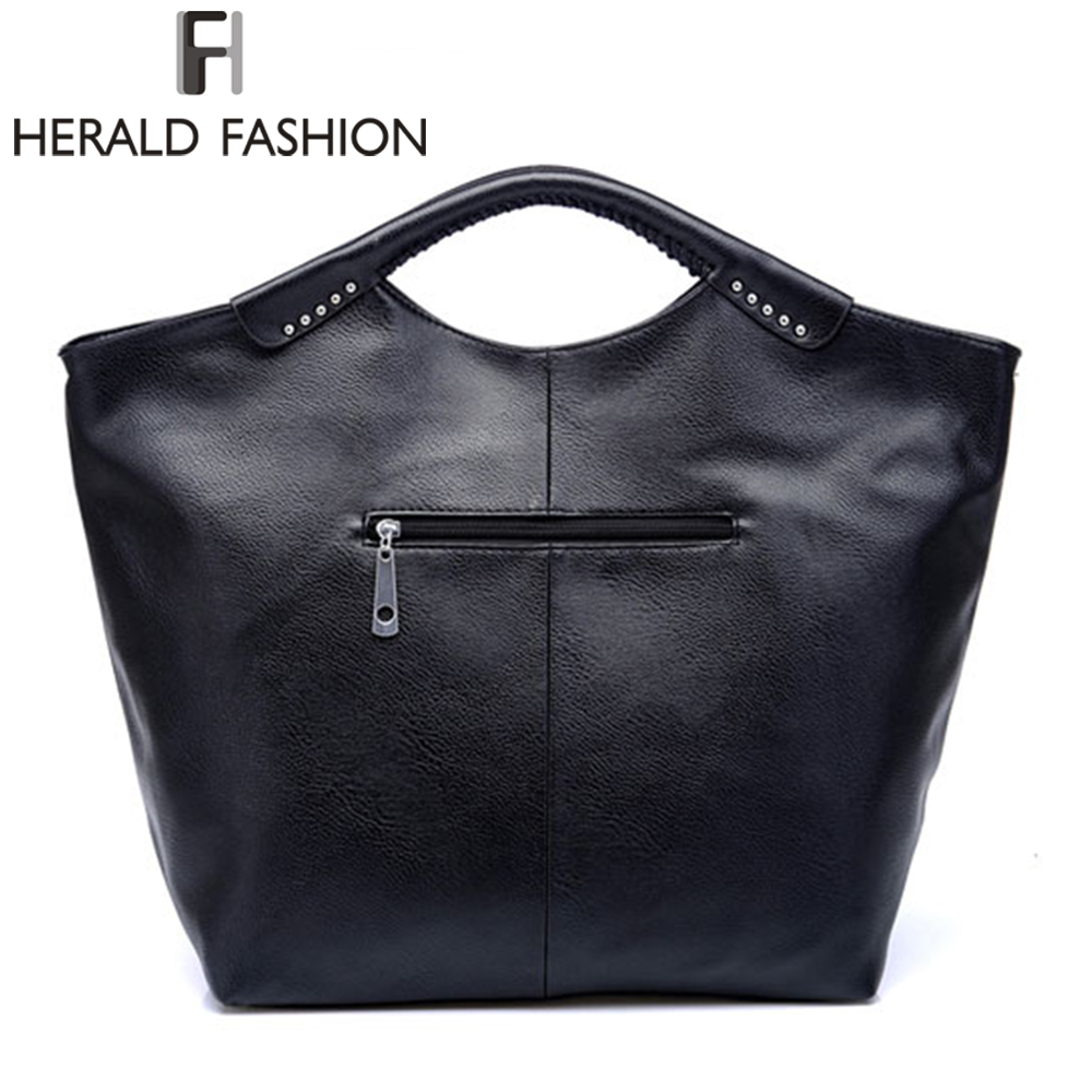 Herald Fashion Casual Hobos Bag Rivet Large Capacity Women Totes Bag Autumn  and Winter PU Leather Shoulder Bag-in Top-Handle Bags from Luggage   Bags  on ... 719bd81d02c50