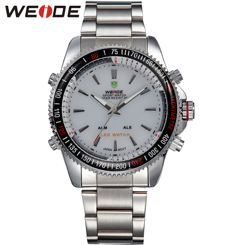 ФОТО WEIDE Mens White Dial Watches Analog Digital LED Quartz Watch 30 M Waterproof Full Stainless Steel Wristwatches Clock With Alarm