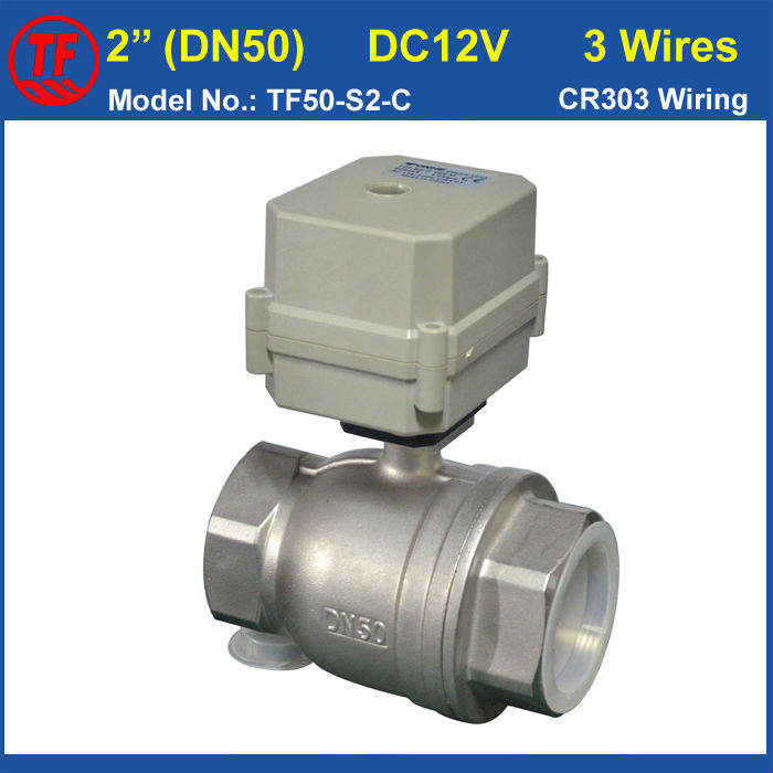 TF50 S2 C 3 Wires 2 Way Stainless Steel DN50 Electric Water Valve With Position Indicator, 10NM Metal Gear 2'' Actuator Valve