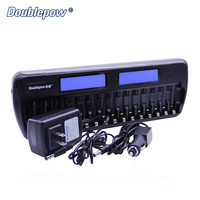 16 slots Doublepow DP K106 2 LCD Built In IC Protection Intelligent Rapid Battery Charger for 16 pcs 1.2V AA/AAA Ni MH/Ni CD