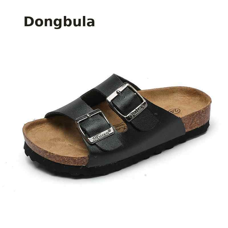 New Summer Boys Slippers For Children Cork Sandals Outdoor Non-slip Soft Leather Girls Beach Shoes kids Fashion Sport Slipp 2019