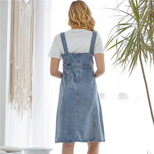 Colorfaith New 2019 Women Denim Dresses Spring Autumn Knee-Length Casual Ladies Strap Dress Overalls Pockets DR8851 5