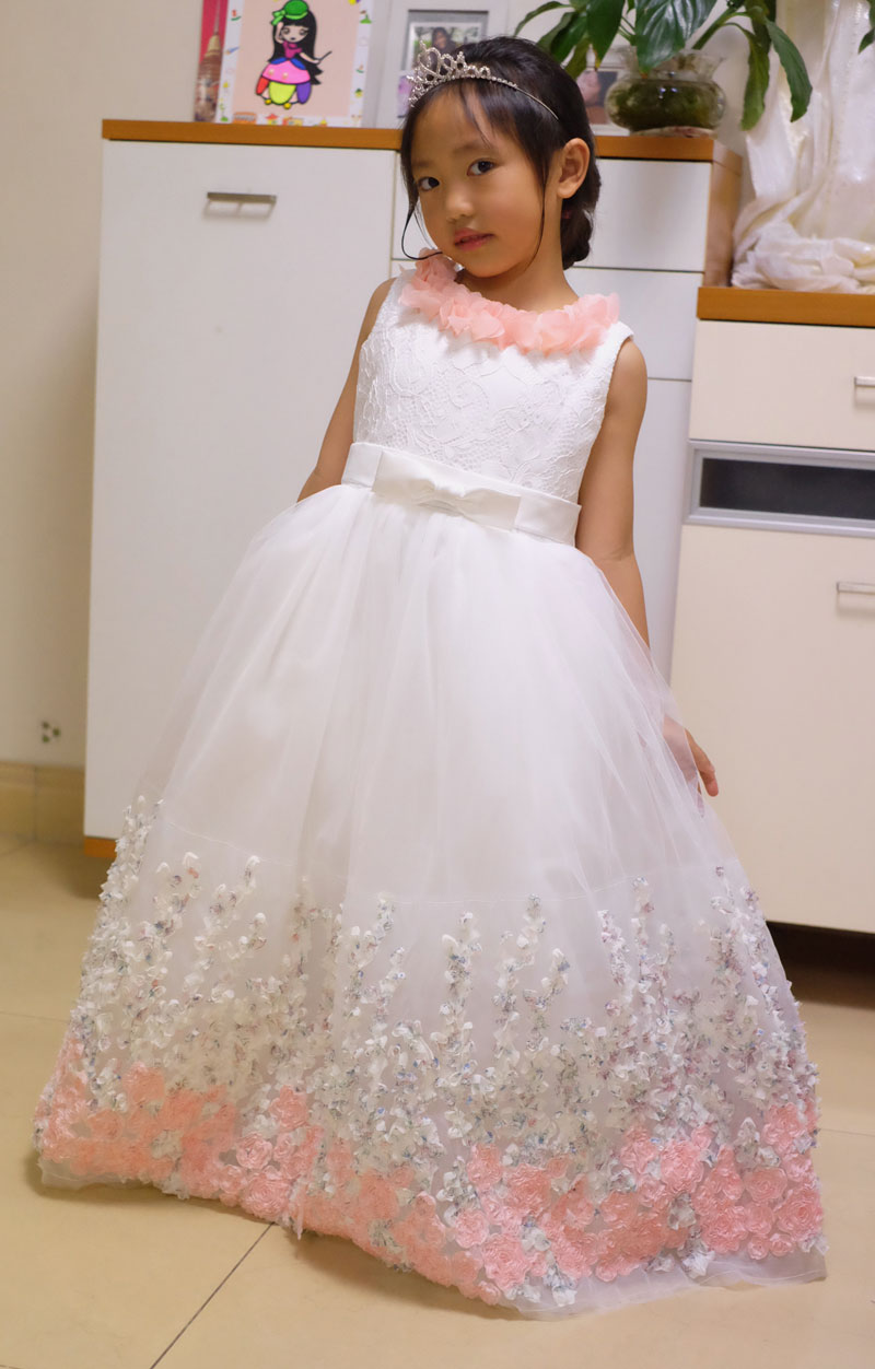 2017 New Elegant Cute Girls Appliques Lace Wedding Dress Fashion Baby Kids Birthday Flower Girl Dresses Baby Baptism Dress new 2018 flower girl party dress baby birthday tutu dresses for girls lace baby vest baptism dresses pearls kids wedding dress