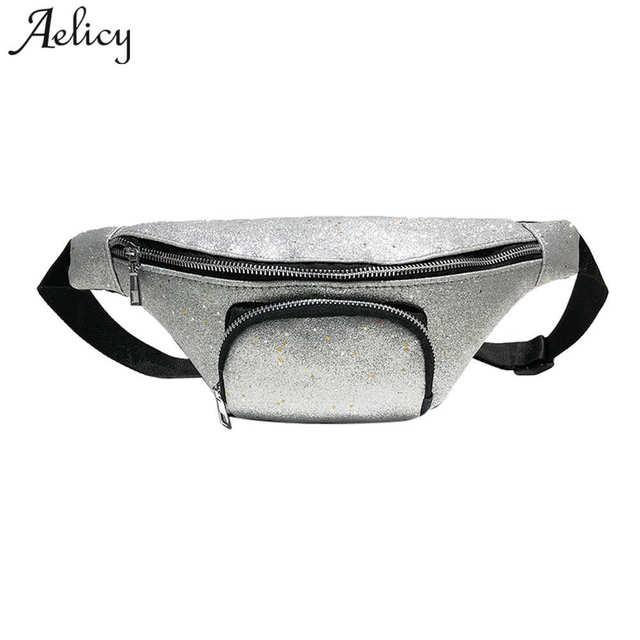 Aelicy Мода блестками талии сумка Дамские туфли из pu искусственной кожи Модные женские сумки через плечо грудь пакет на молнии Для женщин сумки через плечо