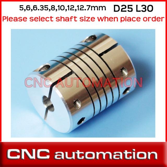 """2pcs aluminium CNC Stepper Motor Flexible Couplings D25 L30 Shaft Coupler 5mm, 6mm, 6.35mm, 8mm, 10mm, 12mm, 12.7mm 1/2"""", 1/4"""""""
