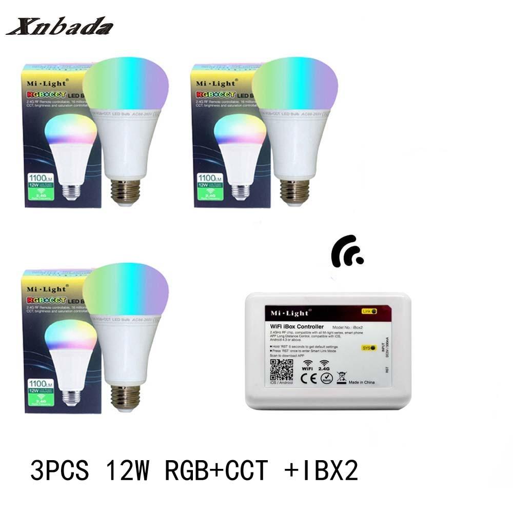 Mi lumière 12 W lampe à Led E27 RGB + CCT Led ampoule + iBX2 RF télécommande wifi Led projecteur lumière variateur Led lumière AC85-265V livraison gratuite - 2