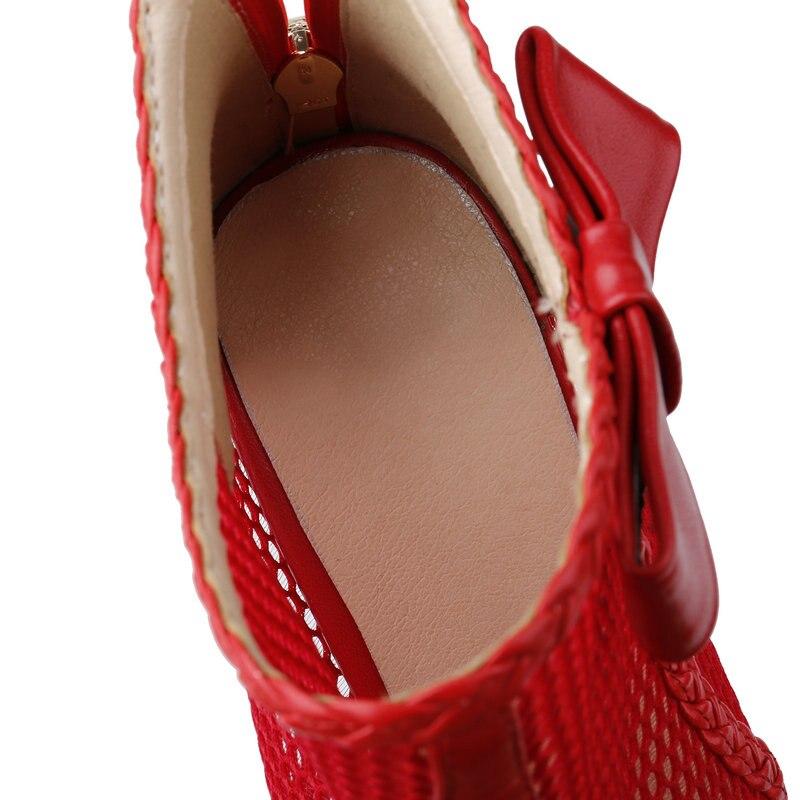 Mujeres Sexy Resorte Tobillo Cuero 35 Botas Del 42 Grande rojo Malla Verano De Transpirable Tamaño Lujo Negro Nemaone Genuino Elegantes 5OwqIzIxX