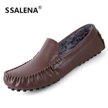 Men Handmade Soft Leather Casual Shoes Mens Warm Plush Velvet Flat Boat Shoes Winter Slip On Driving Shoes AA11585