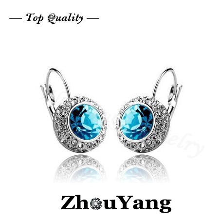 ZYE076 Blue Moon in River Silver Color Hoop Earrings Jewelry Made with Genuine Austrian Crystal Wholesale