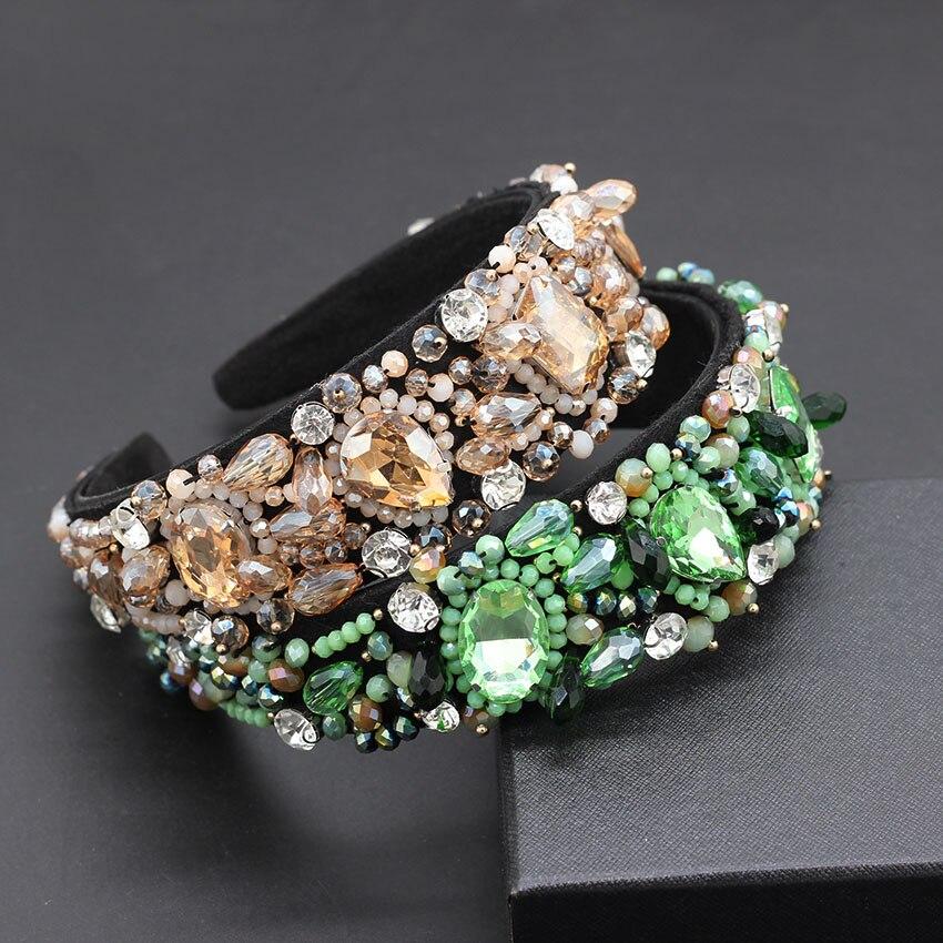 Luxury Rhinestone Crystal Hand-sewn Granules Catwalk Temperament Heavy Duty Headband Baroque Fashion Temperament Headband
