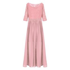 Image 4 - Vestidos da dama de honra, elegante, feminino, meia mangas, bordado, renda, chiffon, longo, para festa de casamento, baile, dama de honra, formal