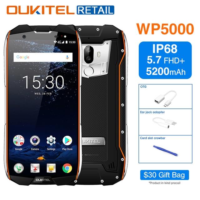 """Oukitel WP5000 IP68 Étanche 5.7 """"18:9 Mobile Téléphone Android 7.1 Helio P25 Octa Core 6 gb 64 gb 5200 mah D'empreintes Digitales 4g Smartphone"""