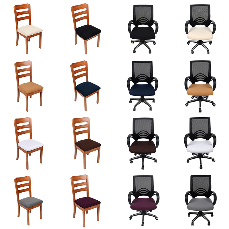 Solid Colors Kitchen Office Dining Room Chair Cover Stretch Spandex Polyester Seat Protector Cover Durable Anti-dirty Seat Case