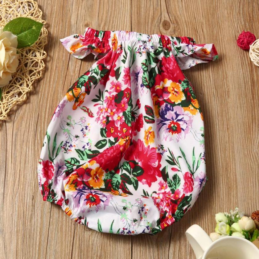 Baby Girls Romper Newborn Infant Clothing Girls Summer Sleeveless Floral Romper Jumpsuit Toddler Jumpsuit Lovely Newborn Romper