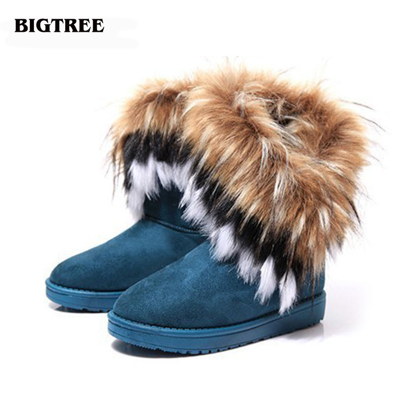 BIGTREE  high quality Faux Fur Snow Boots Women Winter Shoes flock Waterproof Botas Warm Thicken Shoes Woman Size 36-40 22.5hfx