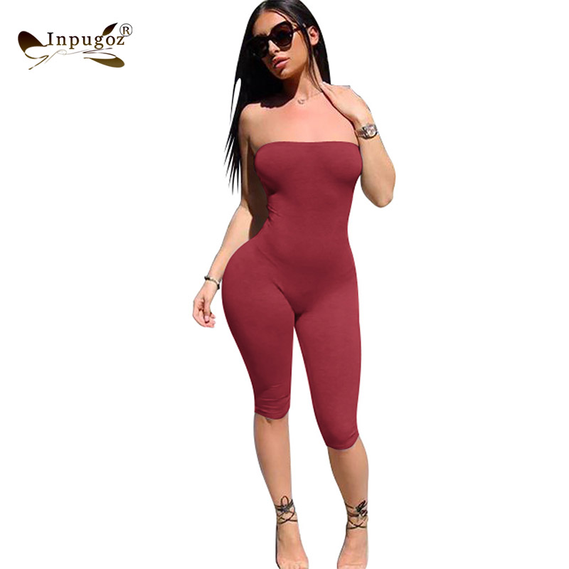 Solid Simple Style Women Strapless Rompers Sexy Bodycon Women Bodysuits Skinny Jumpsuits